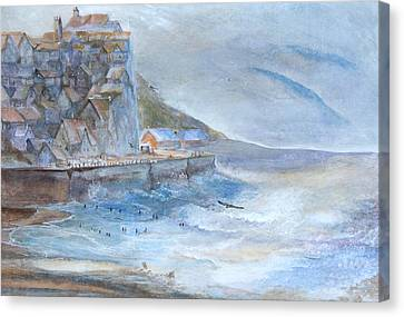 A Morning At The Sea Side Canvas Print by Theo Brush