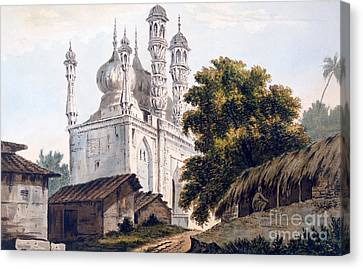 A Mosque At Gazipoor Canvas Print by William Hodges