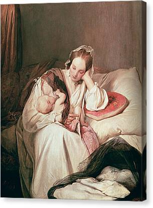 Caring Mother Canvas Print - A Mothers Love, 1839 by Josef Danhauser