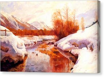 A Mountain Torrent In A Winter Landscape Canvas Print