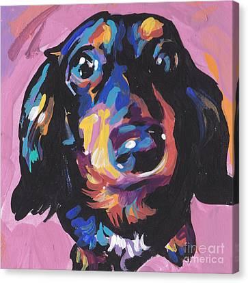 A Moxie Doxie Canvas Print by Lea S
