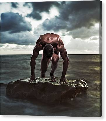 A Muscular Man In The Starting Position Canvas Print
