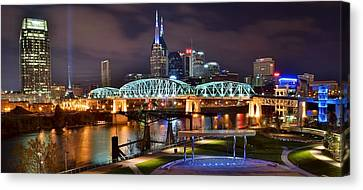 A Nashville Panoramic Night Canvas Print