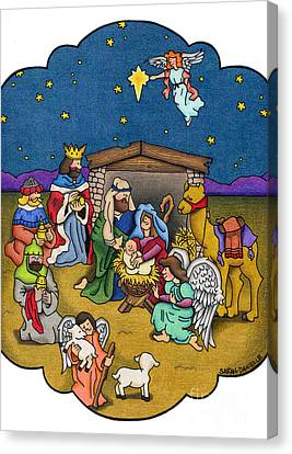 A Nativity Scene Canvas Print