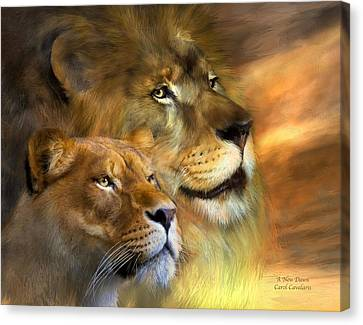 Lions Canvas Print - A New Dawn by Carol Cavalaris