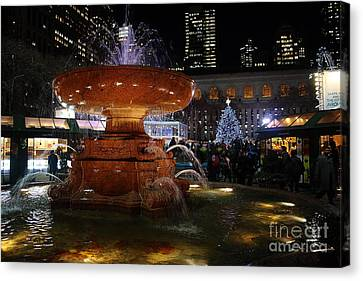 A Night In Bryant Park Canvas Print by Nicholas Santasier