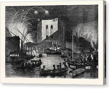A Night Scene On The Nile Near The Mouth Of The Cairo Canal Canvas Print