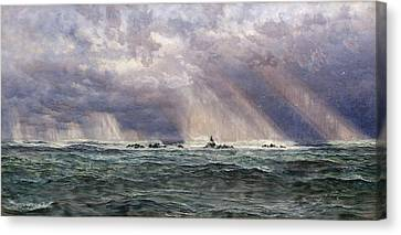 A North-west Gale Off The Longships Lighthouse Canvas Print by John Brett