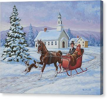 A One Horse Open Sleigh Canvas Print by Richard De Wolfe