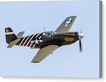 A P-51a Mustang Flying Over Chino Canvas Print