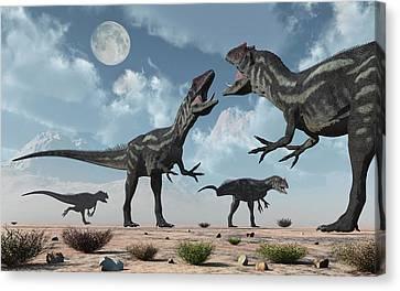 Four Animal Faces Canvas Print - A Pack Of Allosaurus Dinosaurs by Mark Stevenson