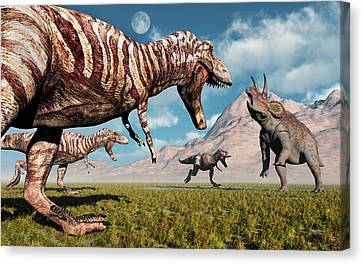 Four Animal Faces Canvas Print - A Pack Of T-rex Dinosaurs Moving by Mark Stevenson