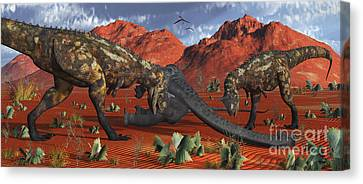A Pair Of Carnotaurus Dinosaurs Ready Canvas Print by Mark Stevenson