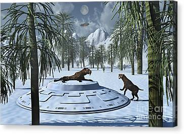 A Pair Of Sabre-tooth Tigers Canvas Print