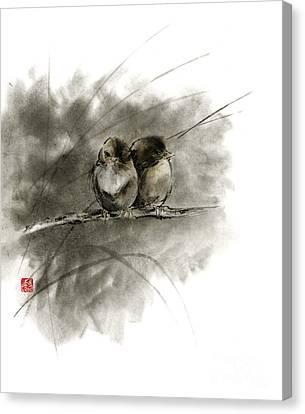 A Pair Of Sparrows Two Birds Brown Bird Original Ink Painting Artwork Canvas Print by Mariusz Szmerdt