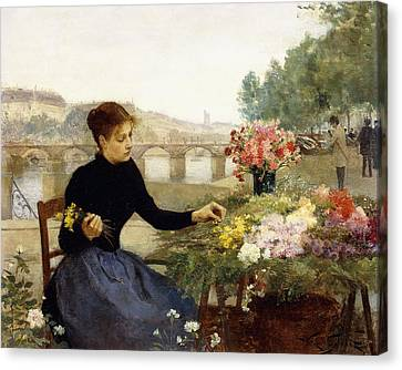 A Parisian Flower Market Canvas Print by Victor Gabriel Gilbert
