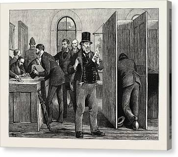 A Parliamentary Election The Nineteenth Century Voting Canvas Print by English School