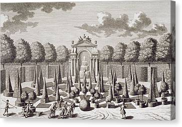 A Parterre With Orange Trees In The Garden Of The Lichtenstein Palace Canvas Print