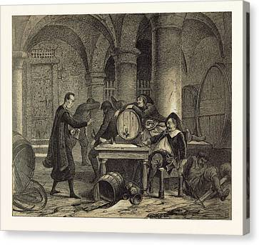 A Party In The Nineteenth Century In The Wine Cellar Canvas Print by English School