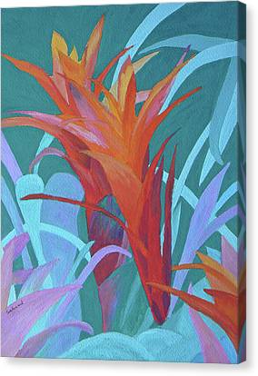 Canvas Print featuring the painting A Pattern Of Bromeliads by Margaret Saheed