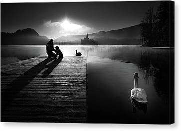 A Peaceful Morning At The Lake Canvas Print