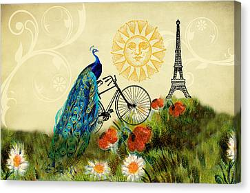 A Peacock In Paris Canvas Print by Peggy Collins