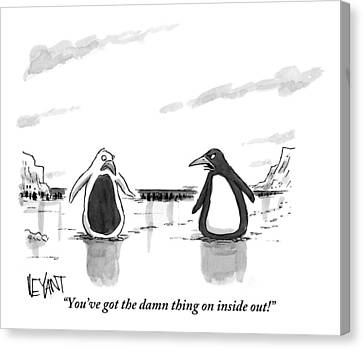 Penguin Canvas Print - A Penguin Is Seen Talking To Another Penguin by Christopher Weyant