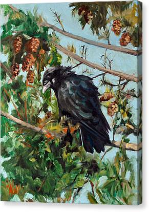 A Perch For Nevermore Canvas Print by Pattie Wall