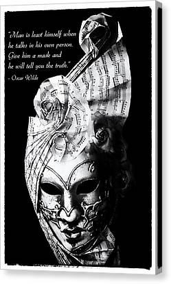 A Picture Of A Venitian Mask Accompanied By An Oscar Wilde Quote Canvas Print