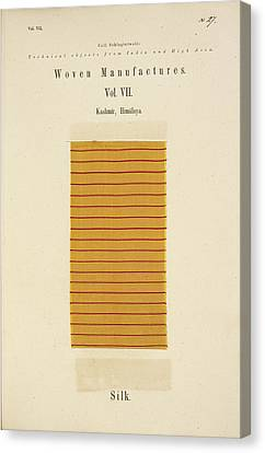 A Piece Of Silk With Red Stripes Canvas Print by British Library