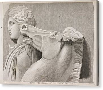 A Piece Of The Frieze Of The Parthenon Canvas Print by British Library