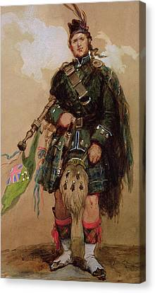 A Piper Of The 79th Highlanders At Chobham Camp Canvas Print by Eugene-Louis Lami