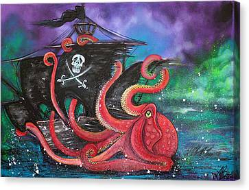 A Pirates Tale - Attack Of The Mutant Octopus Canvas Print by Laura Barbosa
