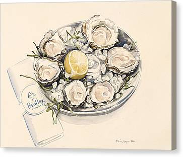 A Plate Of Oysters Canvas Print by Alison Cooper
