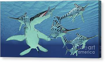 Food In Mouth Canvas Print - A Pod Of Eurhinosaurus Marine Reptiles by Corey Ford
