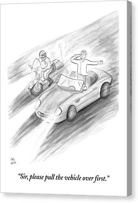 Test Canvas Print - A Policeman Is Seen Pulling Over A Man Who by Paul Noth