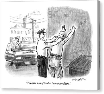 A Policeman Talks To A Man He Is Frisking Or Canvas Print