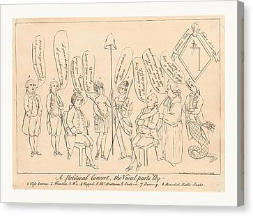 Benjamin Franklin Canvas Print - A Political Concert The Vocal Parts By 1. Miss America by English School