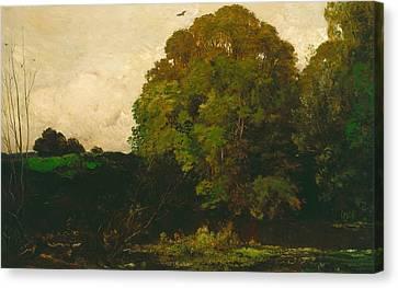 A Pond In The Morvan Canvas Print by Charles Francois Daubigny