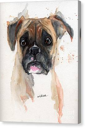 A Portrait Of A Boxer Dog Canvas Print by Angel  Tarantella