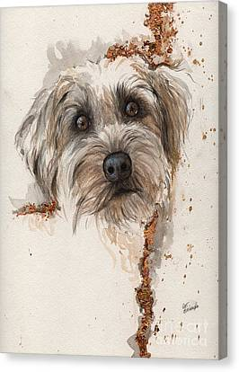 Fox Terrier Canvas Print - A Portrait Of A Dog by Angel  Tarantella