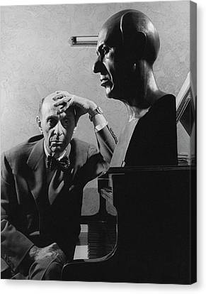 A Portrait Of Arnold Schoenberg Leaning Canvas Print by Crane Ralph