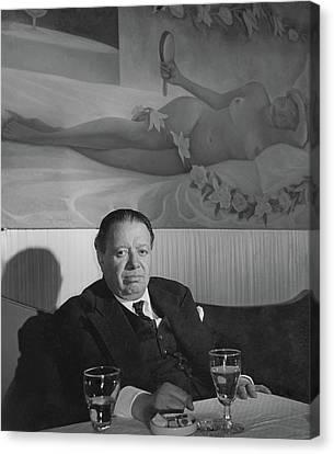 A Portrait Of Diego Rivera At A Restaurant Canvas Print