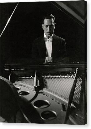 A Portrait Of George Gershwin At A Piano Canvas Print by Edward Steichen