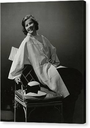 A Portrait Of Katharine Hepburn Wearing A Clare Canvas Print by Edward Steichen
