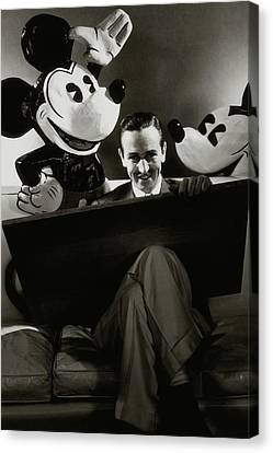 1933 Canvas Print - A Portrait Of Walt Disney With Mickey And Minnie by Edward Steichen