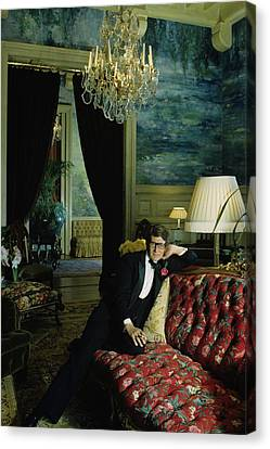A Portrait Of Yves Saint Laurent At His Home Canvas Print by Horst P. Horst