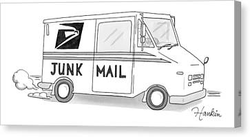 A Postal Truck Has The Phrase Junk Mail Canvas Print by Charlie Hankin
