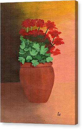 A Pot Of Geraniums Canvas Print by Bav Patel