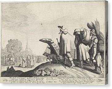A Procession Of Tramps On The Way To The Market Or Fair Canvas Print by Jan Van De Velde (ii)